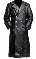 MENS GERMAN CLASSIC OFFICER MILITARY BLACK LONG LEATHER TRENCH COAT