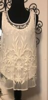 American Eagle-Women's Top-Size M-Off White-Sleeveless-Lace-cute-free Shipping