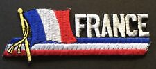 """French Flag Embroidered Patch 1-1/2'' X 4-1/2"""" Iron On Biker France Flag"""