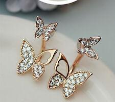 !NiX 1235 Gold Plated Butterfly Double Earrings Gift Women Girl Hanging Earrings