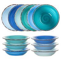 Teller Geschirr Set 6 x Suppenteller Essteller Speiseteller Porzellan 21 cm blau