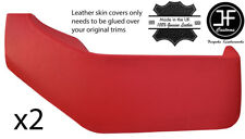 RED REAL LEATHER 2X DOOR POCKETS COVERS FITS VW T4 TRANSPORTER CARAVELLE