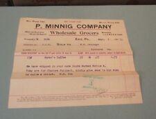 1911 P. Minnig Company Wholesale Grocers Billhead Erie Pa Rorer's Coffee Vintage