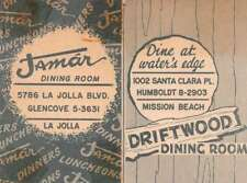 La Jolla Mission Beach Jamar and Driftwood Dining Room Fold out Map Ad J69147