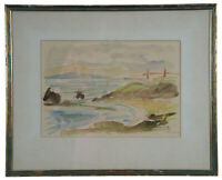 """1923 Antique San Francisco Golden Gate Bridge Watercolor Painting by Chemley 23"""""""