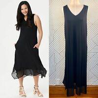 LOGO by Lori Goldstein Knit Sleeveless Maxi Dress Chiffon Trim Black Size XL