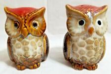 Wise Owl Salt & Pepper Shakers Whimsical Birds Porcelain Brown Black