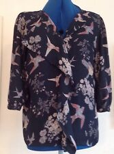 Gorgeous midnight blue bird print blouse Next size 12