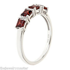 GARNET & DIAMOND WEDDING BAND RING PRINCESS CUT STERLING SILVER .89 CARATS
