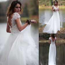 New A Line V Neck Cap Sleeve Wedding Dresses Lace Beach Tulle Bride Gowns