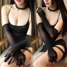 Lady Women See Through Sheer Seamless Sexy Wedding Pantyhose Long Gloves Mittens