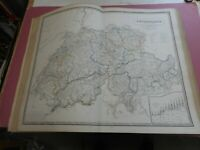 100% ORIGINAL LARGE SWITZERLAND MAP BY JOHNSTON NATIONAL ATLAS C1857 VGC