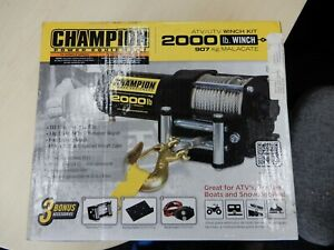 2000lb Champion Power Equipment Quad/ATV/UTV 12v Electric Winch Kit
