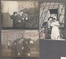 Lot of 3 Vintage Photographs Photo Bombing Girl & Man Behaving Poorly 735225