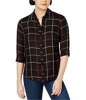 Maison Jules Womens Printed Button Up Shirt, Black, Size XS X-Small