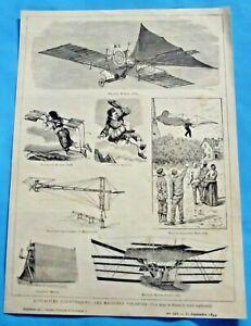 1894 ancienne gravure de presse Machine volante Henson premier avion vintage