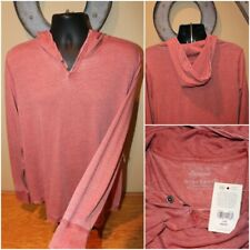NWT $59 LUCKY BRAND Venice Burnout Long Sleeve Hooded Shirt Pullover : Size L