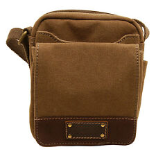 Troop London - Small Brown Canvas Heritage Messenger Bag with Leather Trim