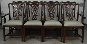 Set of 8 Councill Craftsman Mahogany Chippendale Dining Chairs Silk Fabric