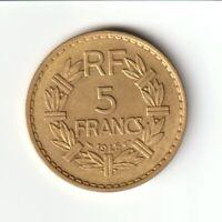 5 FRANCS 1945 C Lavrillier Castel sarrasin (Bronze-aluminium) F.337/6 - SUP++