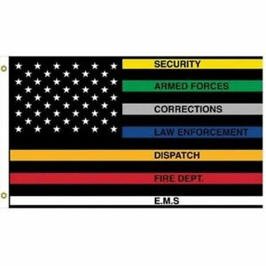 First Responders United States Striped Flag 3 x 5 Feet Police Military Fire Dept