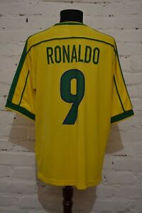 VINTAGE BRAZIL 1998 HOME FOOTBALL SHIRT SOCCER JERSEY RONALDO #9 MENS XL RARE