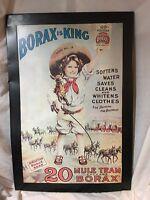 Original Vintage Borax is King 20 Mule Team Dry Soap Tin Sign 34 X 24