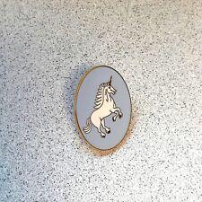 UNICORN PIN lapel pin hat tie tack tac blue enamel white unicorn mint free ship