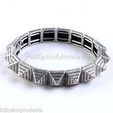 1PC Gothic Silvery Spike Rivet Square Bead Strand Stretchy Bracelet Bangle Punk