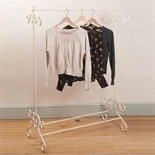 Vintage Cream Clothes Garment Rail Ornate Chic Metal Hanging Stand Strong