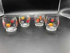 Lot 4 Mid-Century Vintage Hand-painted Juice Glasses Orange Apple