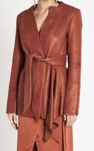 Sass And Bide Burnt Orange Leather Blazer Jacket With Tie As New 40