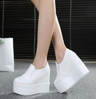 Women Sneakers Platform High Wedge Heels Casual Creepers Round Toe Muffins Shoes