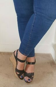ladies used black strappy wedge heels UK 7 worn but in good condition
