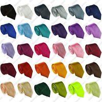 Mens Skinny Slim Plain Colour Neck Tie - Satin Narrow Formal Necktie Ties - New