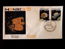 MONACO PREMIER JOUR FDC YVERT  1541/42    POISSONS , MUSEE    3,40+1,90F    1986