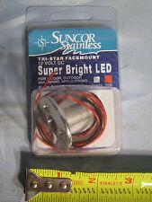 NOS Suncor Stainless Tri-Star Facemount 12V Boat Red LED Light C0803-500R