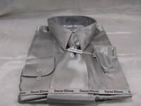 New D & E Satin Dress Shirt w/Tie and Hanky Grey