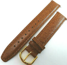 New Mens Brown Genuine Pigskin Leather 18mm LONG Watch Band Gold Tone Buckle