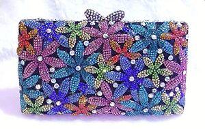 Multi-Color~Floral Handmade Austrian Crystal Purse Cocktail Evening Bag