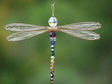 Golden Dragonfly Suncatcher Small Mobile with Chakra Theme Swarovski Crystals