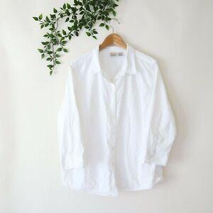 L.L. Bean Women's Plus Size 3/4 Sleeve Seersucker Button Front Top 1X White