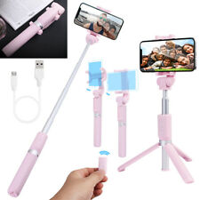Foldable Bluetooth Extendable Selfie Stick Tripod Remote 360° Clamp IOS Android Pink for Samsung Galaxy Note8