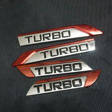 2Pairs Chrome Red TURBO Metal Sticker Badge Emblem Premium Limited 3D Car Racing