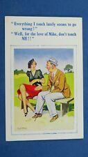 Risque Donald McGill Comic Postcard 1930s Silk Stockings Garter INNUENDO Theme