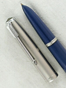 VINTAGE TEAL BLUE PARKER 51 FOUNTAIN PEN ~ DATE CODED 1949 ~ RESTORED