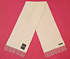 VINTAGE AUTHENTIC LAMBSWOOL SOLID WHITE WOOL BLEND LONG MEN'S FRINGE SCARF