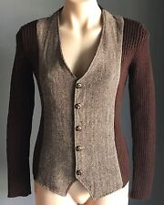 Smart 60's look RORO Brown Tweed Stretch Long Sleeve Fitted Jacket Size M/10-12