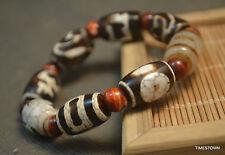 Magical Tibetan Old Agate Heaven&Earth Lotus dZi Bead Stretchy Bracelet Bangle