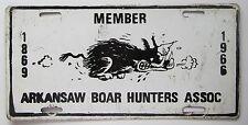 Arkansas 1966 MEMBER ARKANSAW BOAR HUNTERS ASSOCIATION BOOSTER License Plate